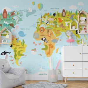 decija karta sveta foto tapet za decu
